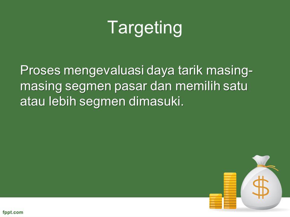 Targeting Proses mengevaluasi daya tarik masing-masing segmen pasar dan memilih satu atau lebih segmen dimasuki.