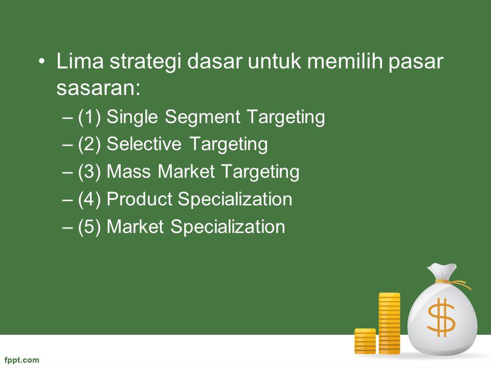 Lima strategi dasar untuk memilih pasar sasaran: