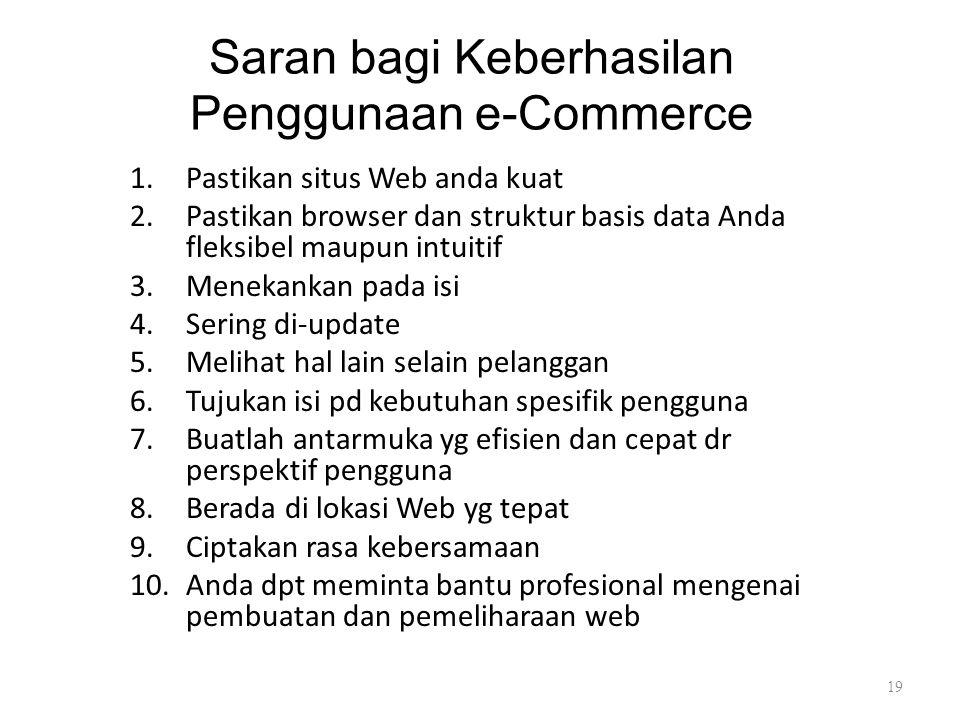 Saran bagi Keberhasilan Penggunaan e-Commerce