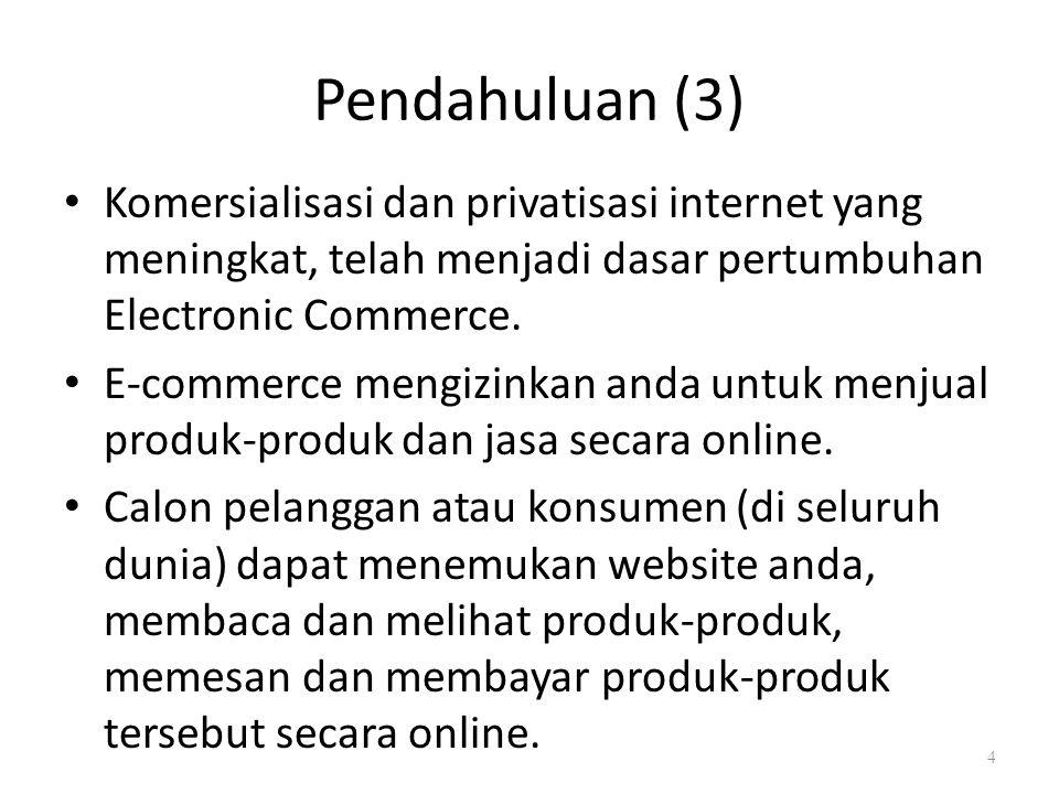 Pendahuluan (3) Komersialisasi dan privatisasi internet yang meningkat, telah menjadi dasar pertumbuhan Electronic Commerce.