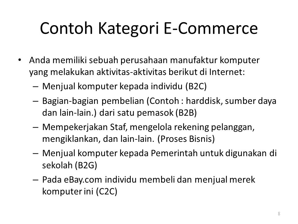 Contoh Kategori E-Commerce