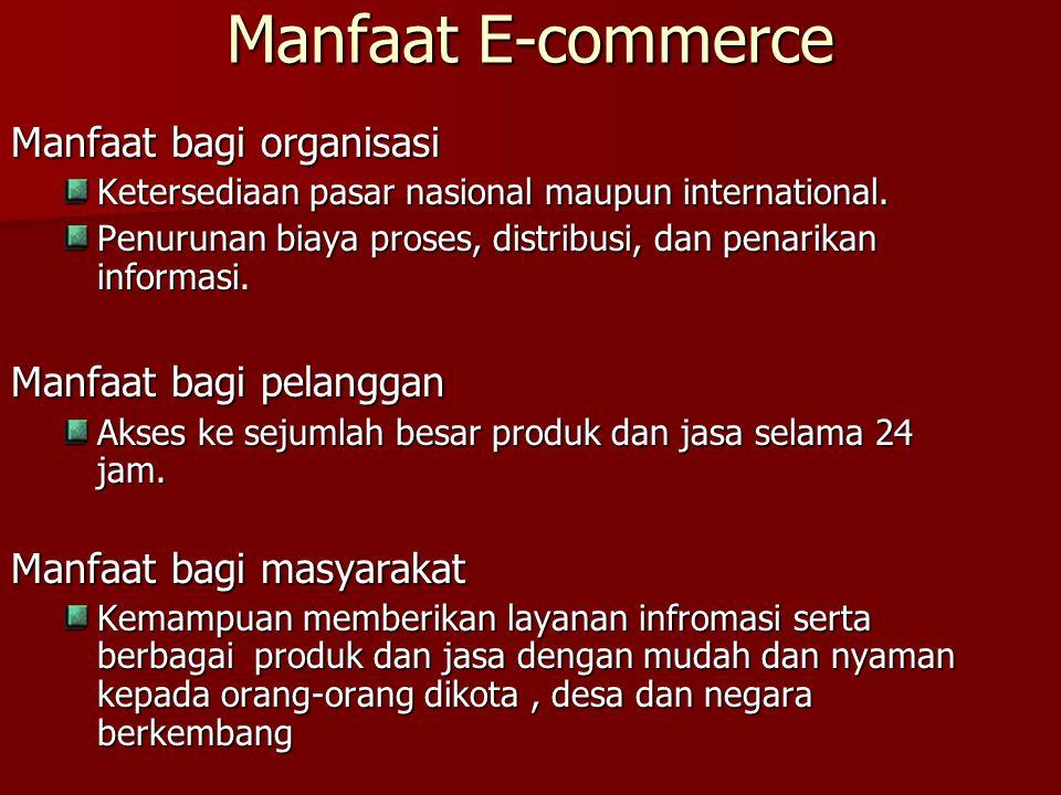 Manfaat E-commerce Manfaat bagi organisasi Manfaat bagi pelanggan