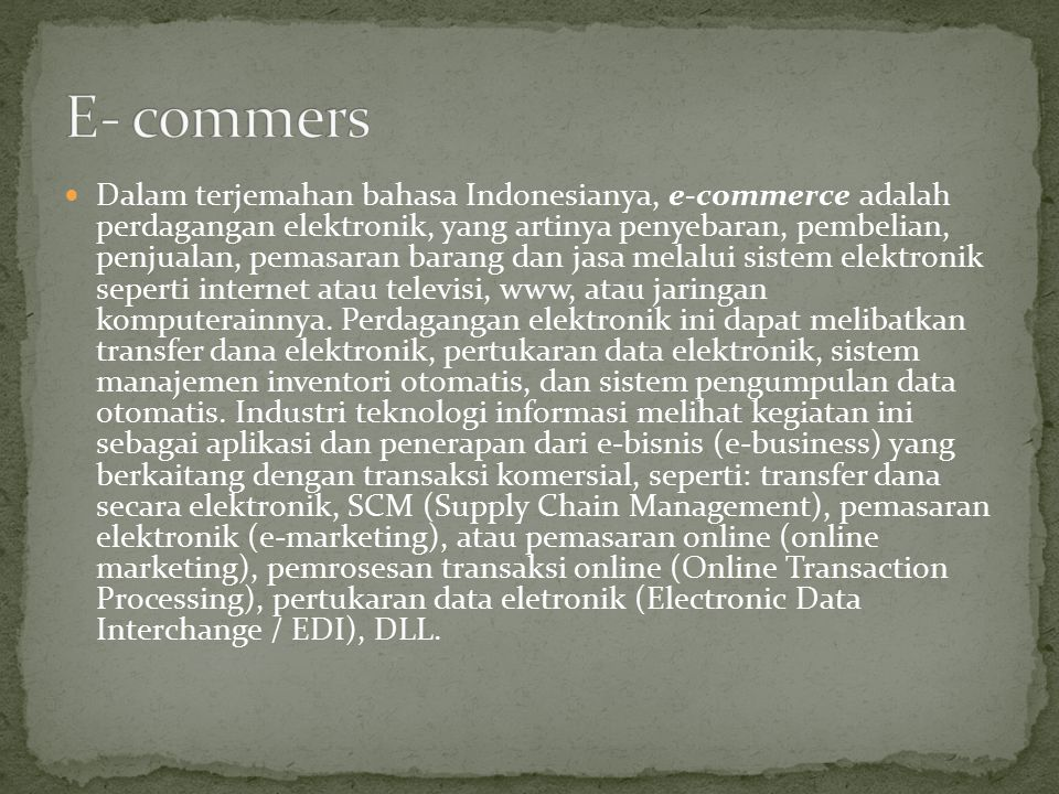 E- commers