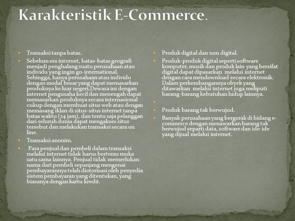 Karakteristik E-Commerce.