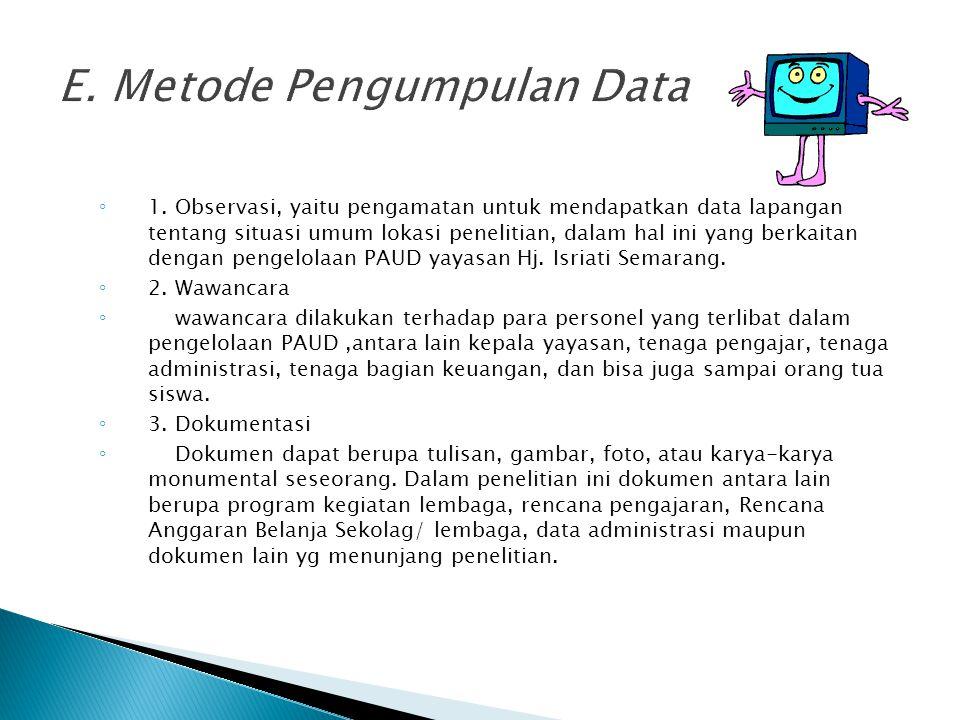 E. Metode Pengumpulan Data