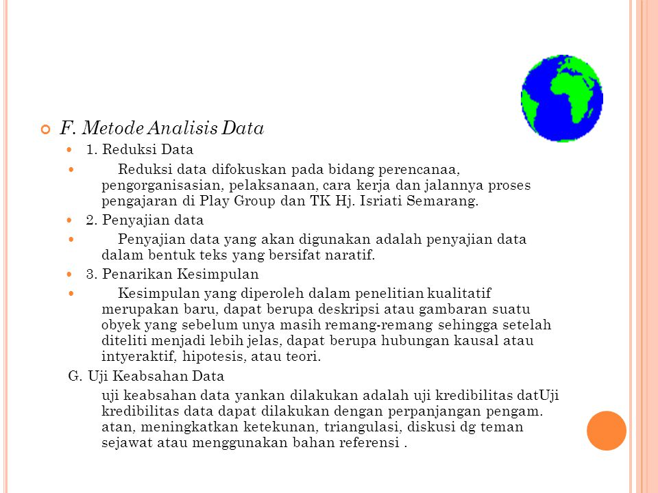F. Metode Analisis Data 1. Reduksi Data