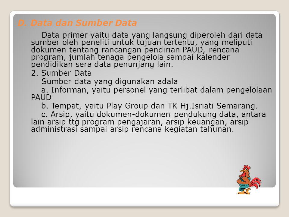 D. Data dan Sumber Data