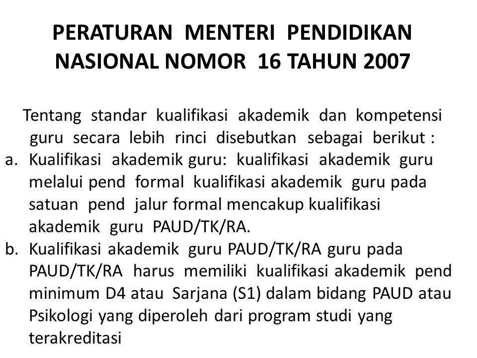 PERATURAN MENTERI PENDIDIKAN NASIONAL NOMOR 16 TAHUN 2007