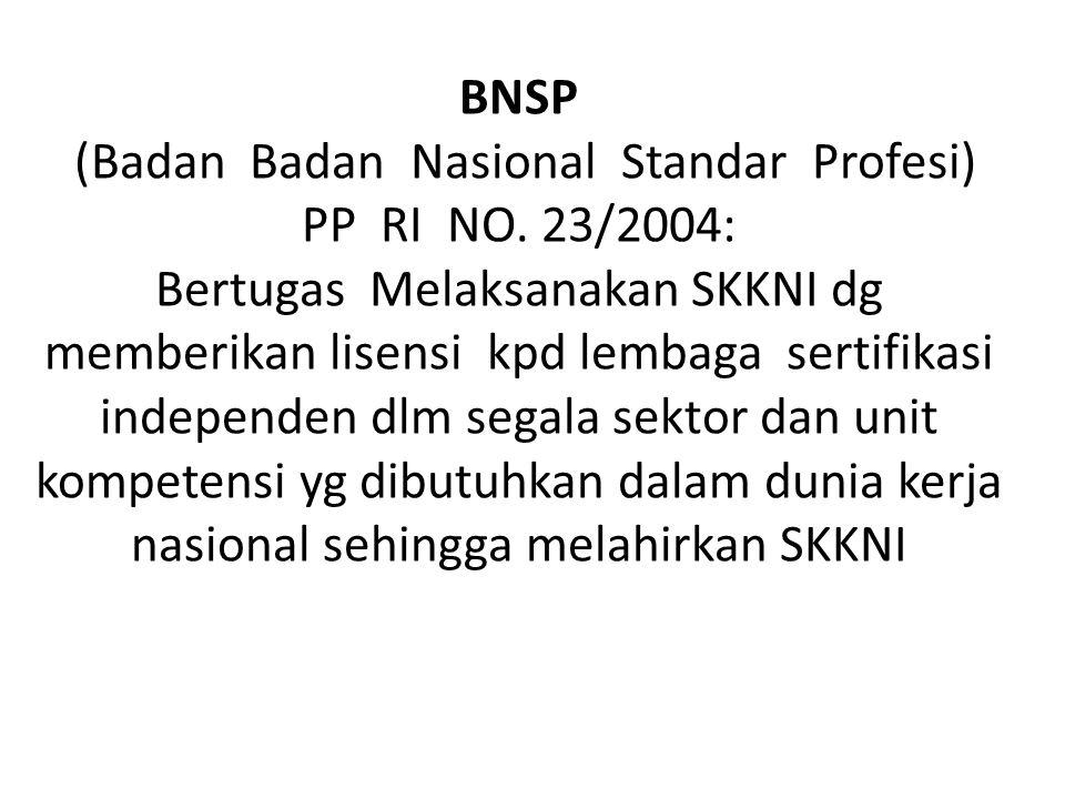 (Badan Badan Nasional Standar Profesi)