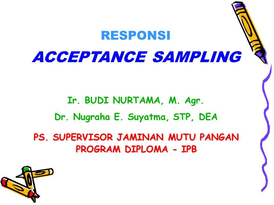 Dr. Nugraha E. Suyatma, STP, DEA PS. SUPERVISOR JAMINAN MUTU PANGAN