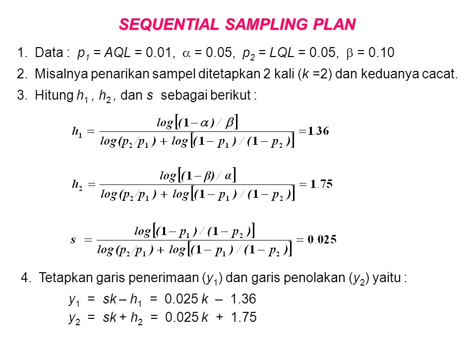 SEQUENTIAL SAMPLING PLAN