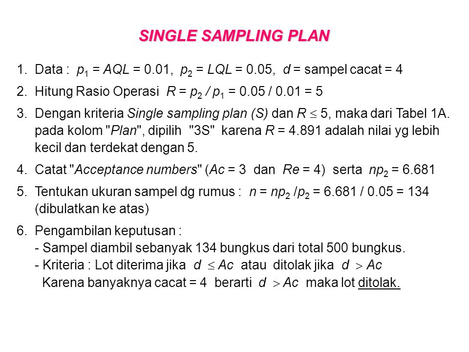 SINGLE SAMPLING PLAN 1. Data : p1 = AQL = 0.01, p2 = LQL = 0.05, d = sampel cacat = 4. 2. Hitung Rasio Operasi R = p2 / p1 = 0.05 / 0.01 = 5.