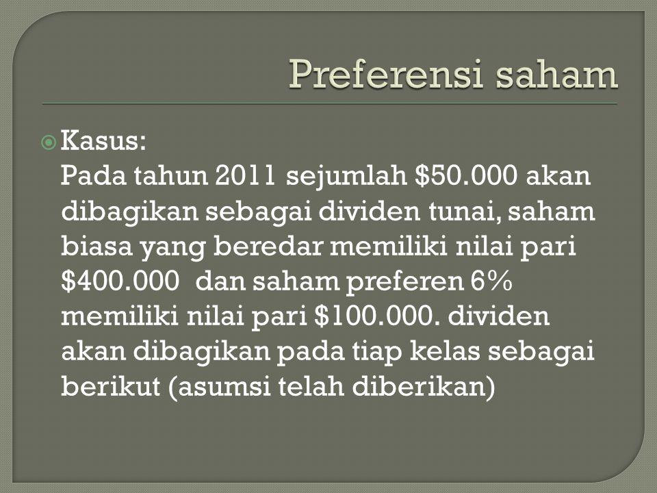 Preferensi saham Kasus: