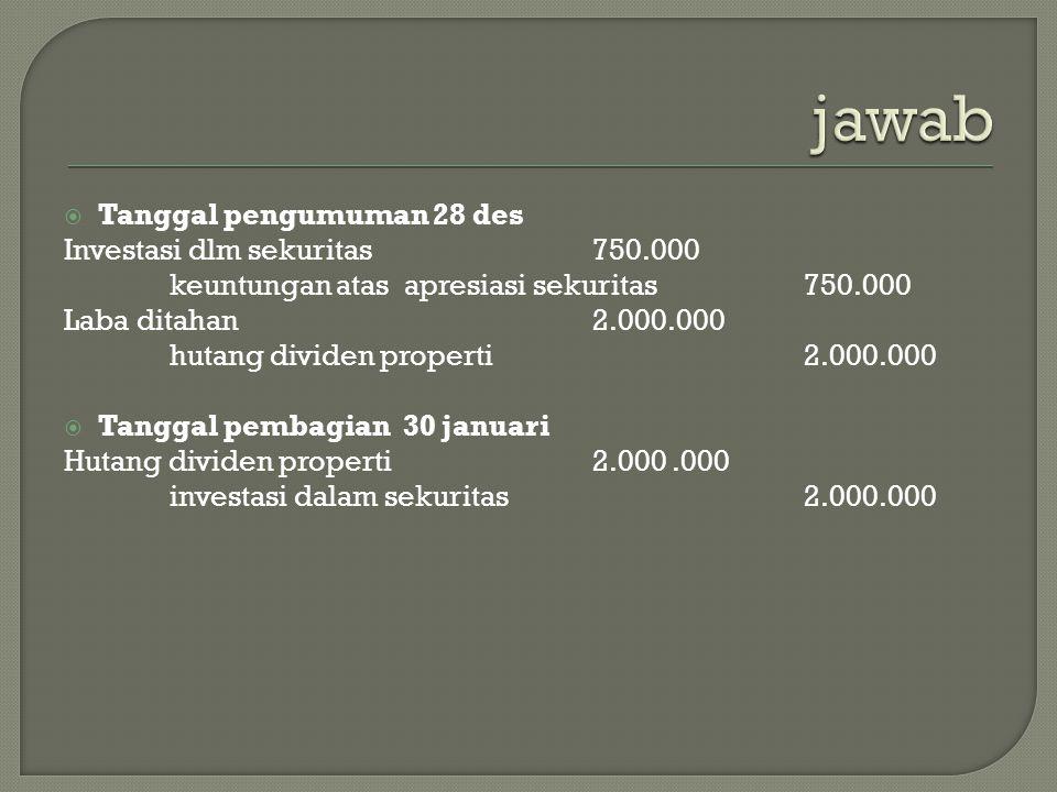 jawab Tanggal pengumuman 28 des Investasi dlm sekuritas 750.000