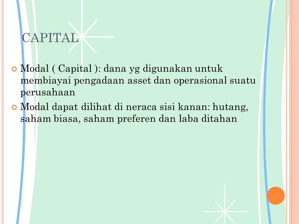 CAPITAL Modal ( Capital ): dana yg digunakan untuk membiayai pengadaan asset dan operasional suatu perusahaan.