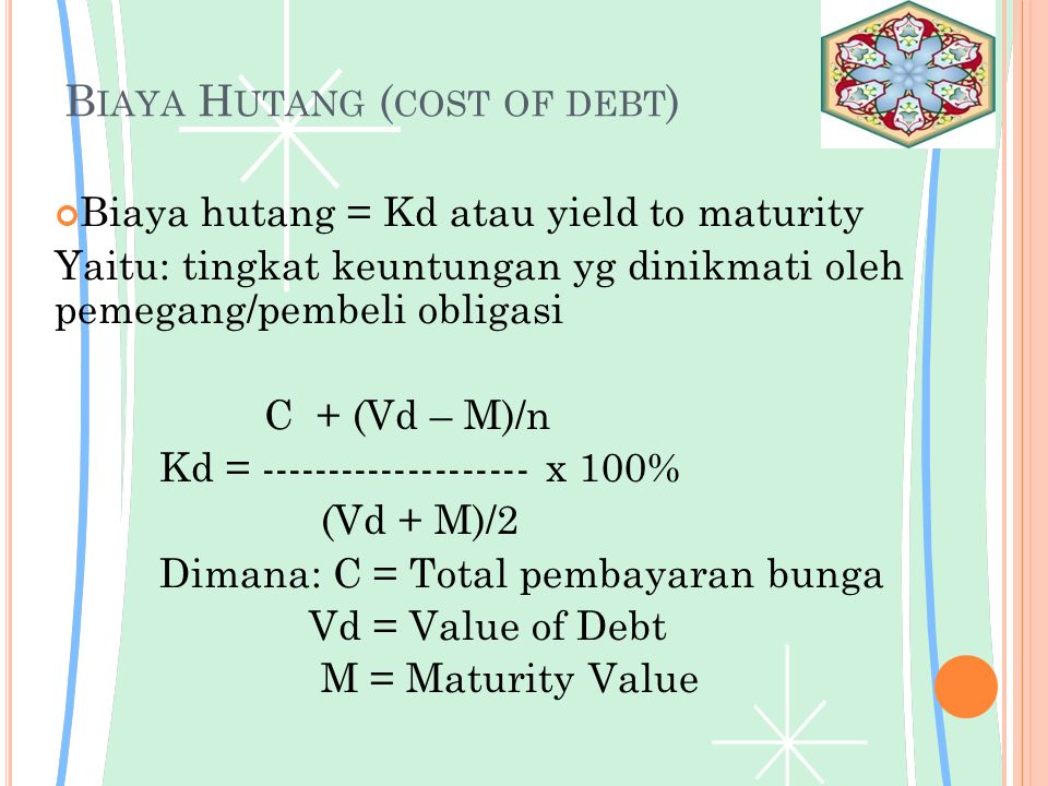 Biaya Hutang (cost of debt)