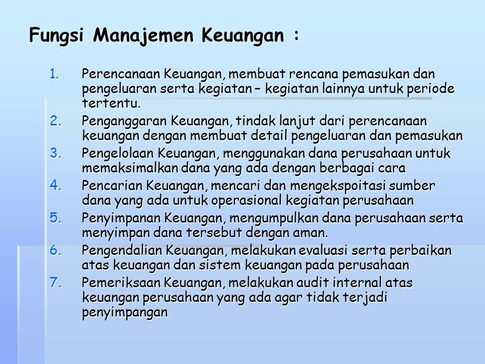 Fungsi Manajemen Keuangan :