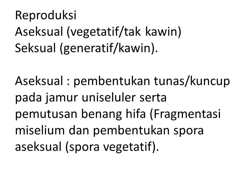 Reproduksi Aseksual (vegetatif/tak kawin) Seksual (generatif/kawin)