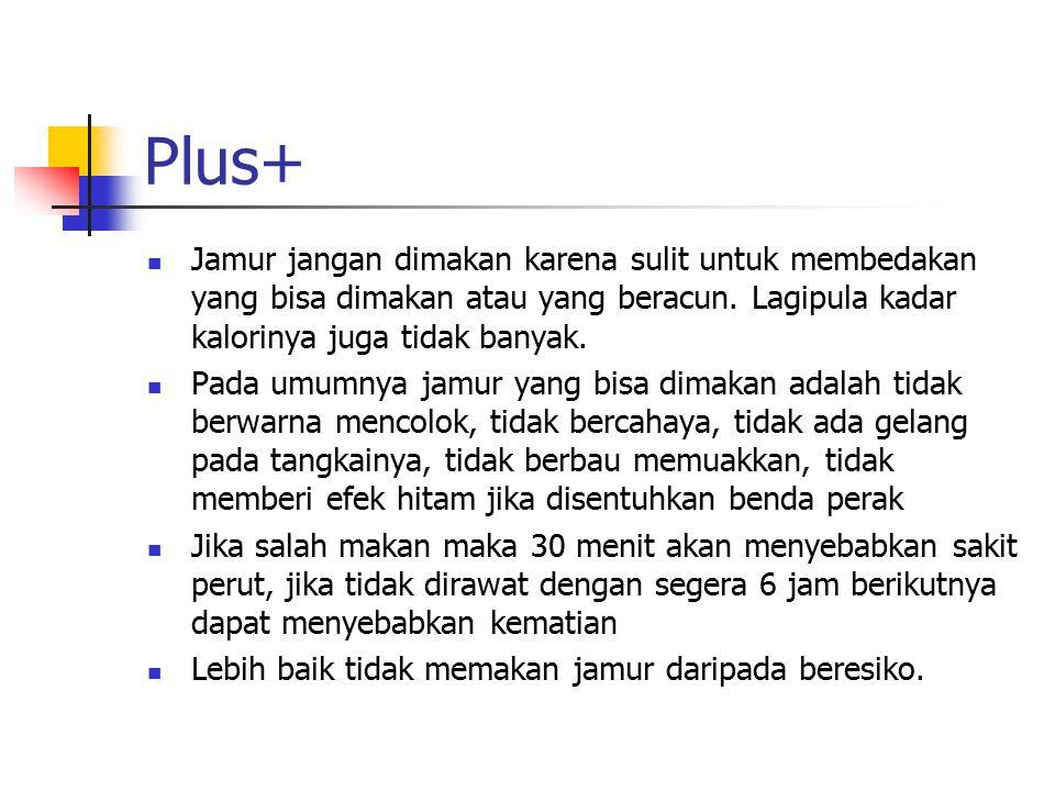 Plus+ Jamur jangan dimakan karena sulit untuk membedakan yang bisa dimakan atau yang beracun. Lagipula kadar kalorinya juga tidak banyak.