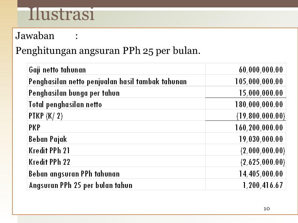 Ilustrasi Jawaban : Penghitungan angsuran PPh 25 per bulan.