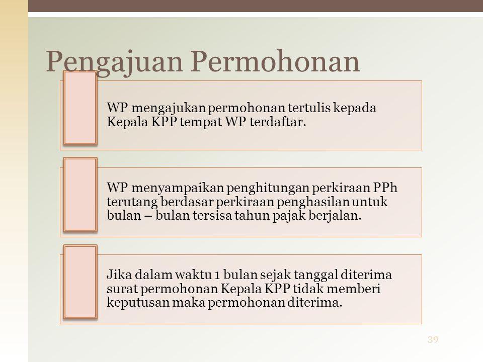 Pengajuan Permohonan WP mengajukan permohonan tertulis kepada Kepala KPP tempat WP terdaftar.
