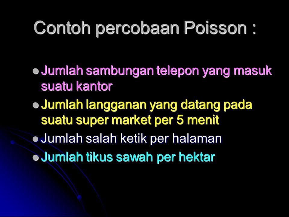 Contoh percobaan Poisson :