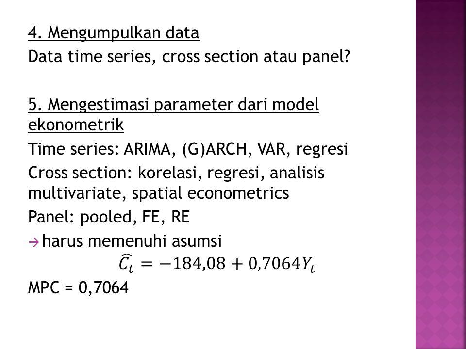 𝐶 𝑡 =−184,08+0,7064 𝑌 𝑡 4. Mengumpulkan data