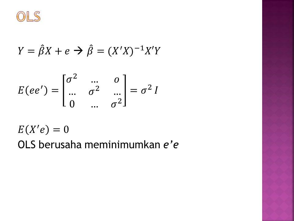 OLS 𝑌= 𝛽 𝑋+𝑒  𝛽 = ( 𝑋 ′ 𝑋) −1 𝑋′𝑌 𝐸 𝑒 𝑒 ′ = 𝜎 2 … 𝑜 … 𝜎 2 … 0 … 𝜎 2 = 𝜎 2 𝐼 𝐸 𝑋 ′ 𝑒 =0 OLS berusaha meminimumkan e'e