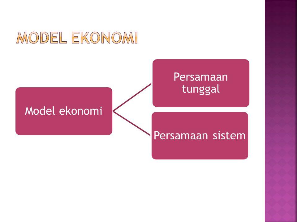 model ekonomi Model ekonomi Persamaan tunggal Persamaan sistem