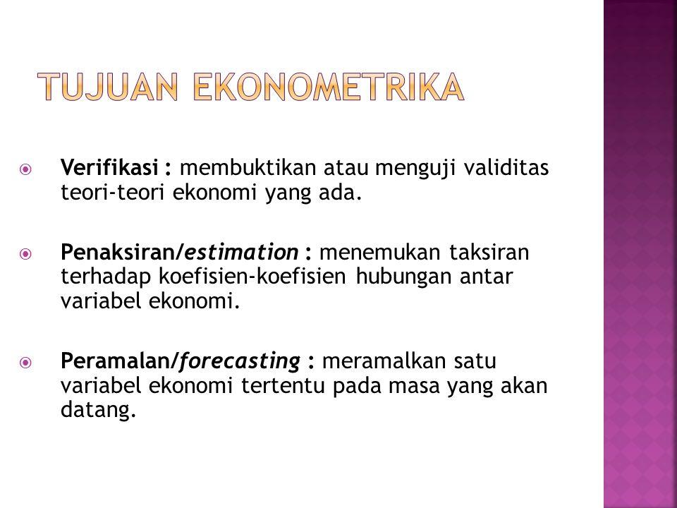Tujuan Ekonometrika Verifikasi : membuktikan atau menguji validitas teori-teori ekonomi yang ada.