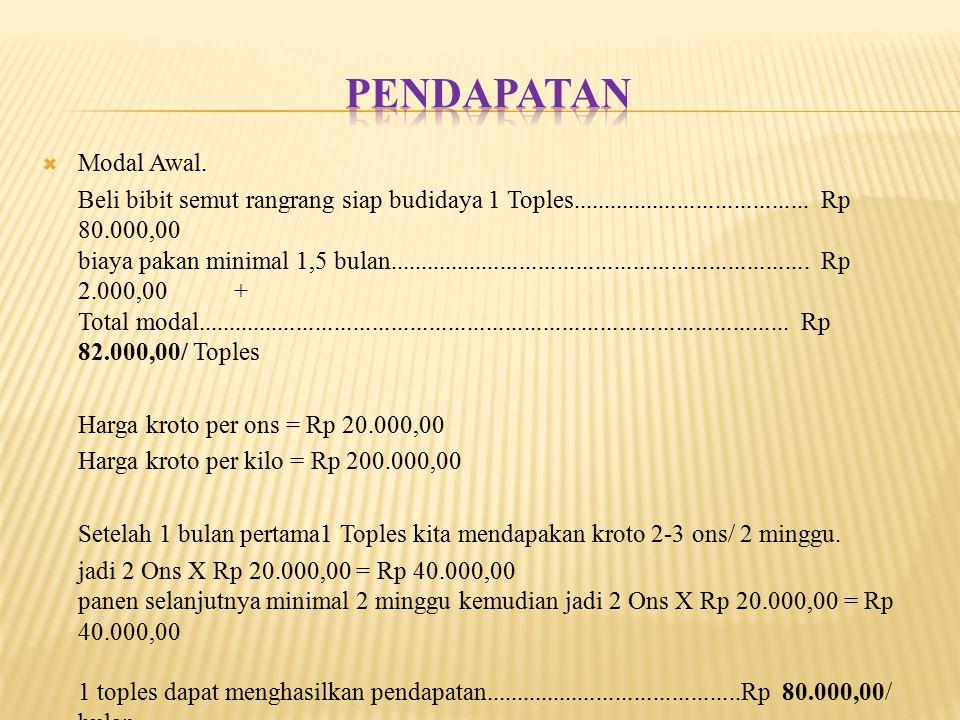 Pendapatan Modal Awal.
