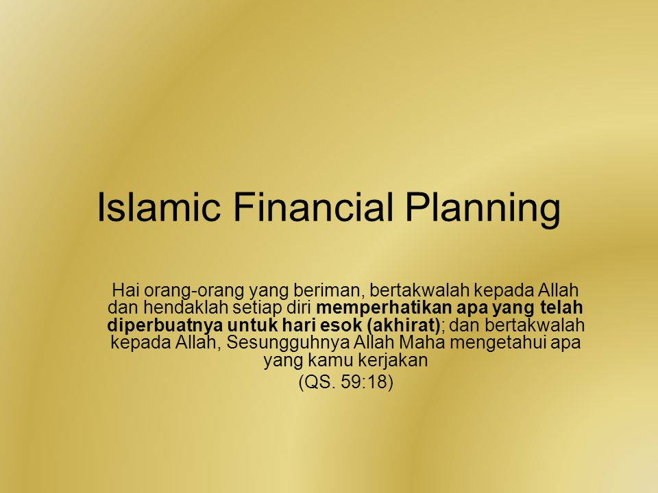 Islamic Financial Planning