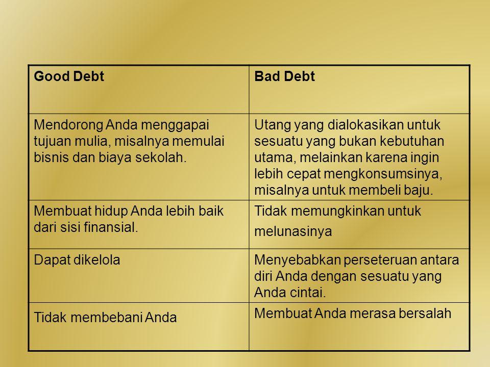 Good Debt Bad Debt. Mendorong Anda menggapai tujuan mulia, misalnya memulai bisnis dan biaya sekolah.