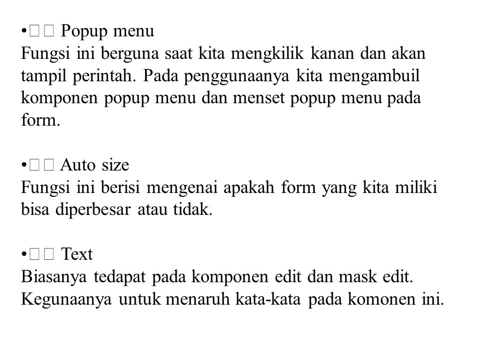  Popup menu