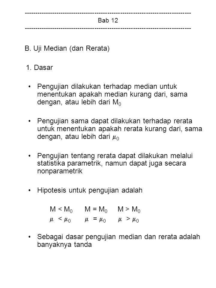 B. Uji Median (dan Rerata) 1. Dasar