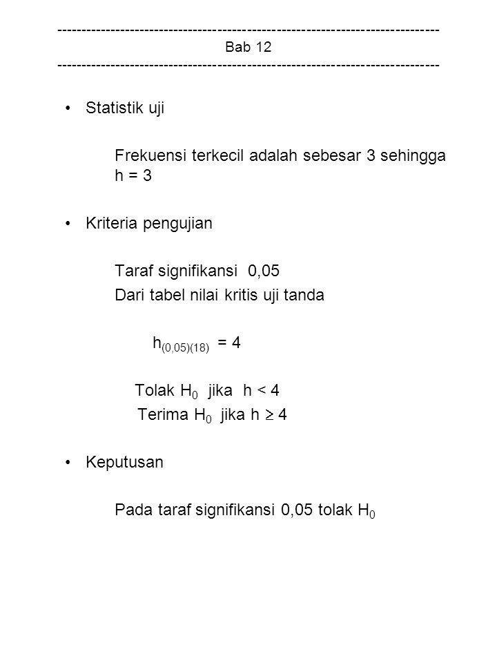 Frekuensi terkecil adalah sebesar 3 sehingga h = 3