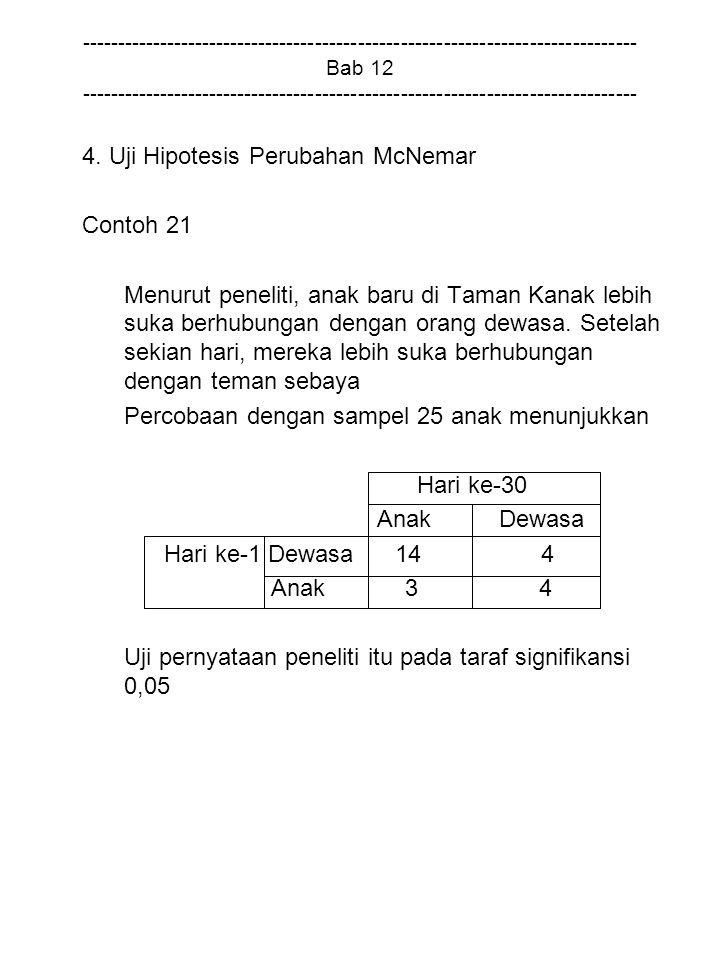 4. Uji Hipotesis Perubahan McNemar Contoh 21