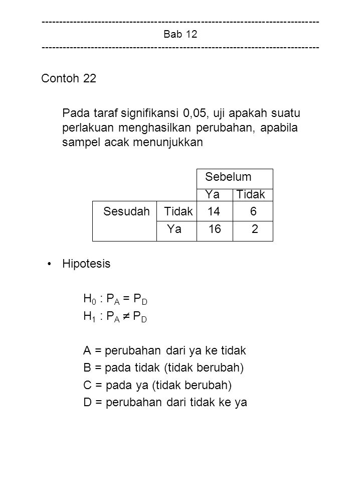 A = perubahan dari ya ke tidak B = pada tidak (tidak berubah)