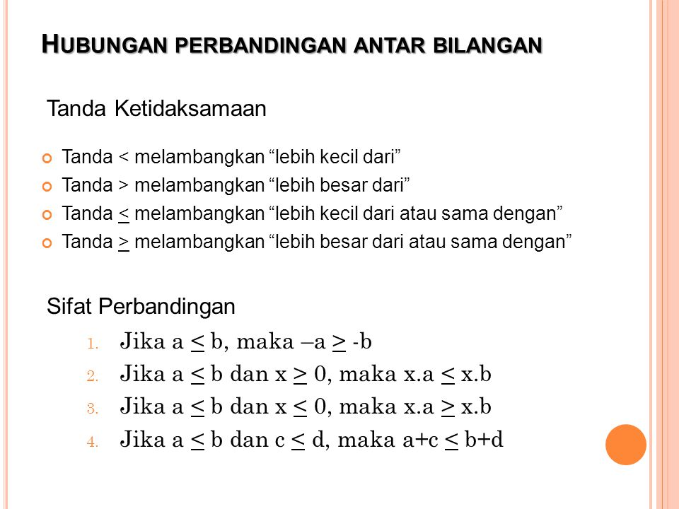Hubungan perbandingan antar bilangan