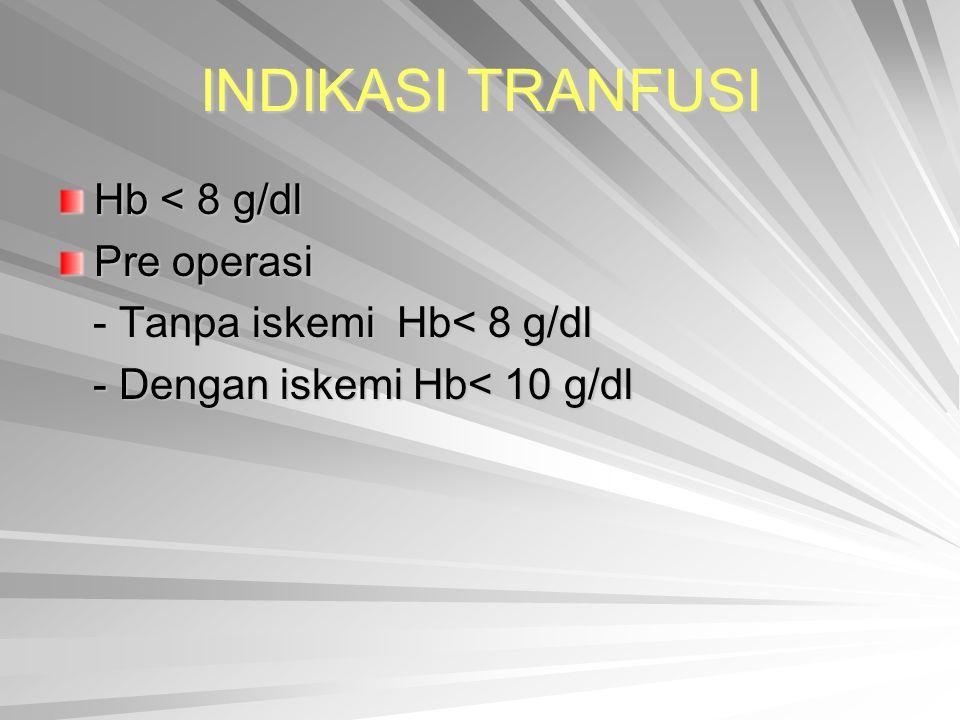 INDIKASI TRANFUSI Hb < 8 g/dl Pre operasi