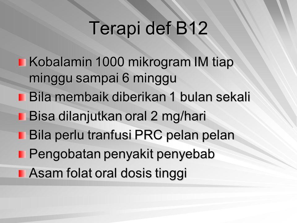 Terapi def B12 Kobalamin 1000 mikrogram IM tiap minggu sampai 6 minggu