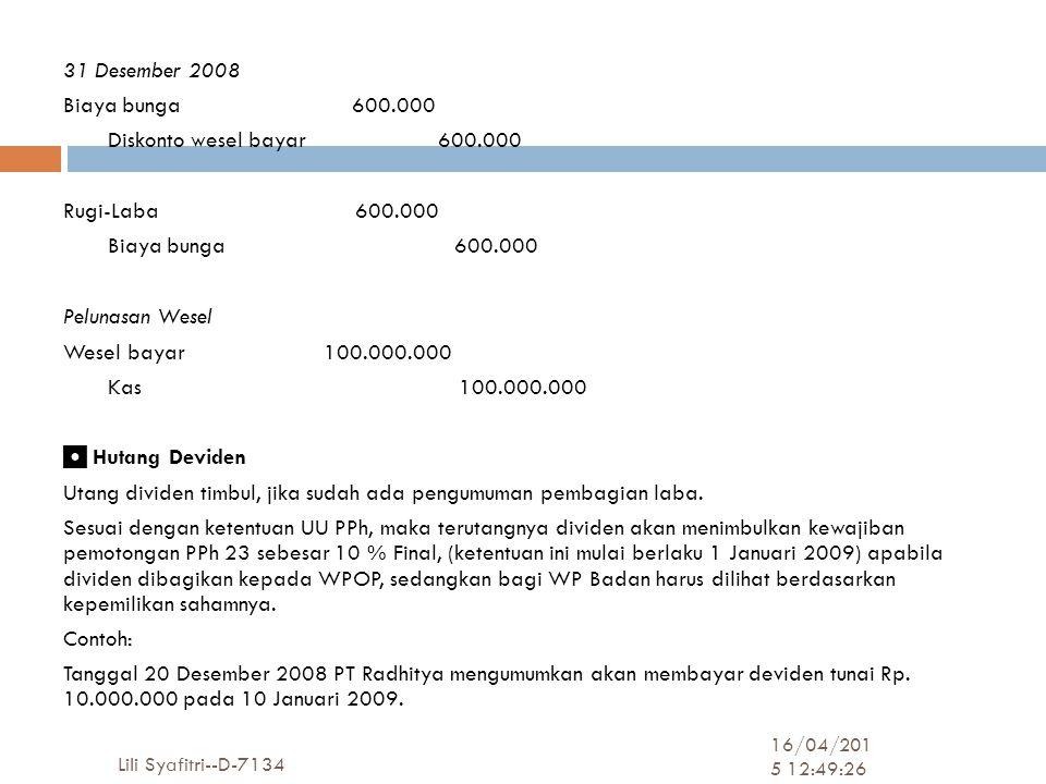 31 Desember 2008 Biaya bunga 600. 000 Diskonto wesel bayar 600
