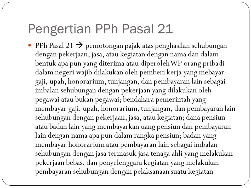 Pengertian PPh Pasal 21