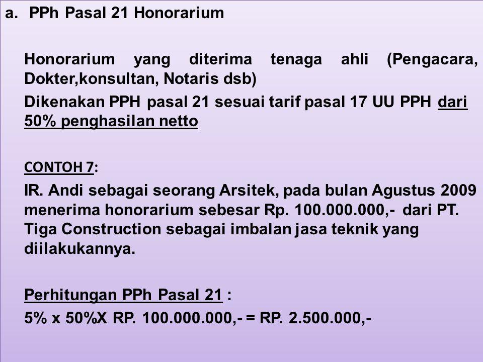 PPh Pasal 21 Honorarium Honorarium yang diterima tenaga ahli (Pengacara, Dokter,konsultan, Notaris dsb)