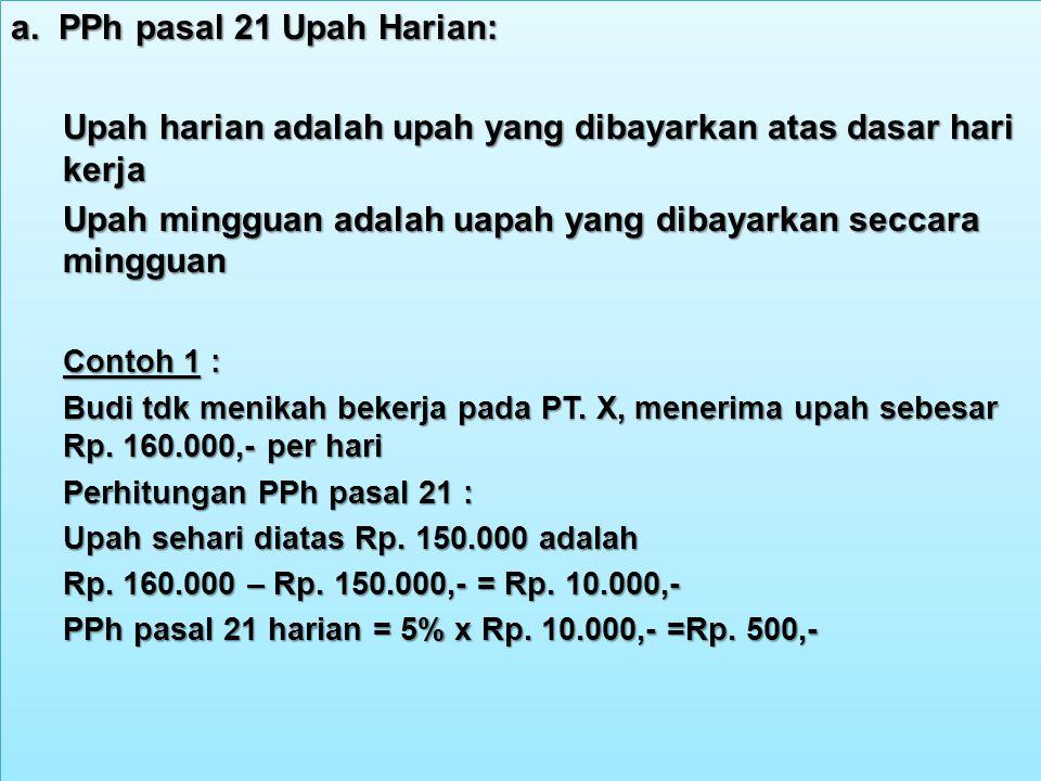 a. PPh pasal 21 Upah Harian: