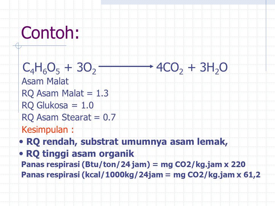 Contoh: C4H6O5 + 3O2 4CO2 + 3H2O Asam Malat RQ Asam Malat = 1.3