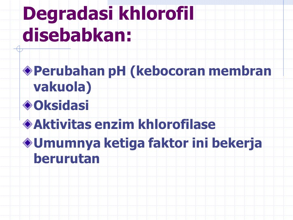 Degradasi khlorofil disebabkan:
