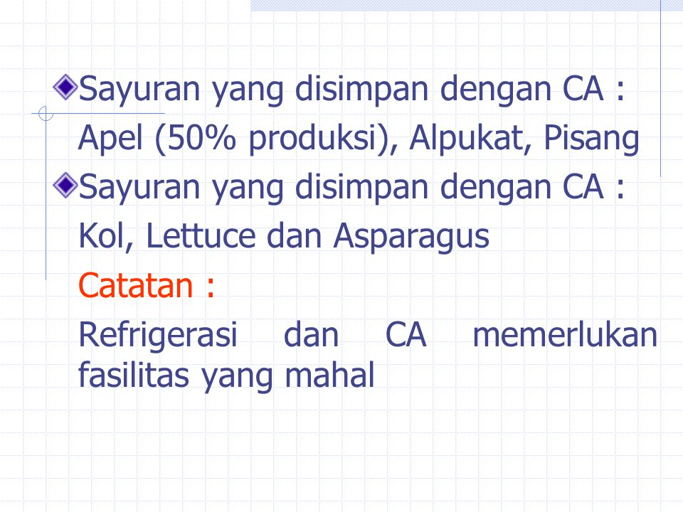 Sayuran yang disimpan dengan CA :