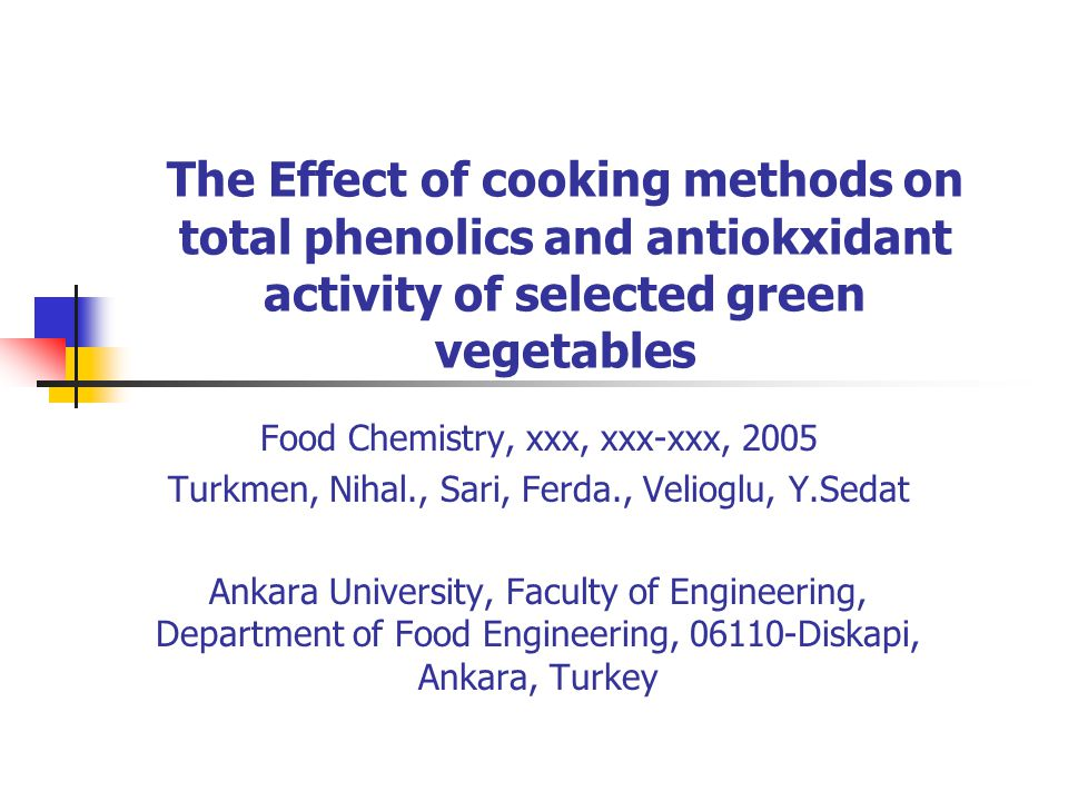 The Effect of cooking methods on total phenolics and antiokxidant activity of selected green vegetables