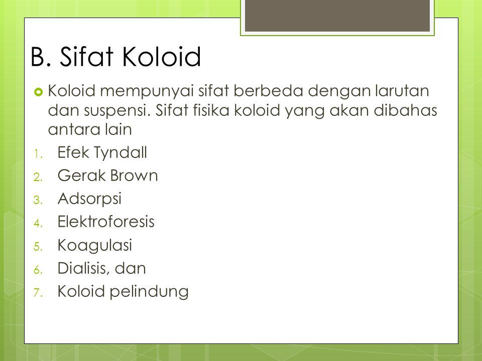 B. Sifat Koloid Koloid mempunyai sifat berbeda dengan larutan dan suspensi. Sifat fisika koloid yang akan dibahas antara lain.